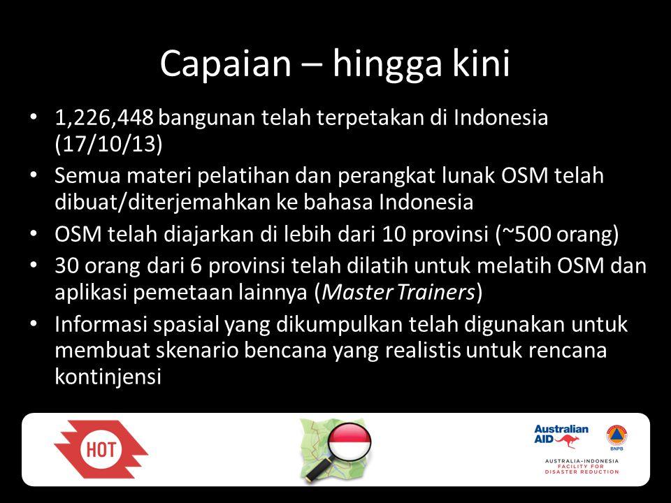 Capaian – hingga kini 1,226,448 bangunan telah terpetakan di Indonesia (17/10/13)
