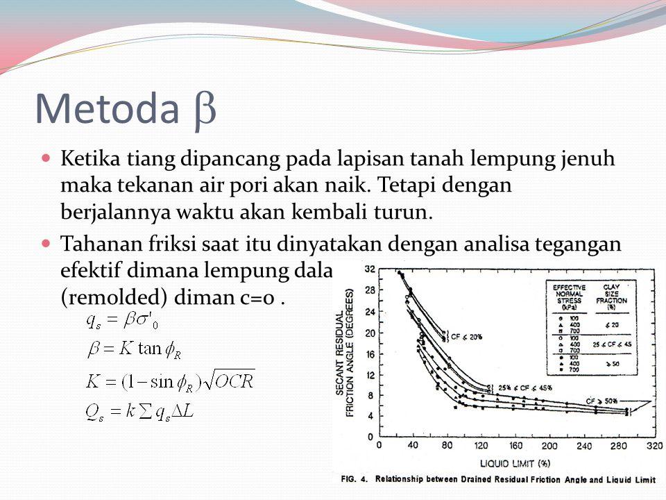 Metoda  Ketika tiang dipancang pada lapisan tanah lempung jenuh maka tekanan air pori akan naik. Tetapi dengan berjalannya waktu akan kembali turun.