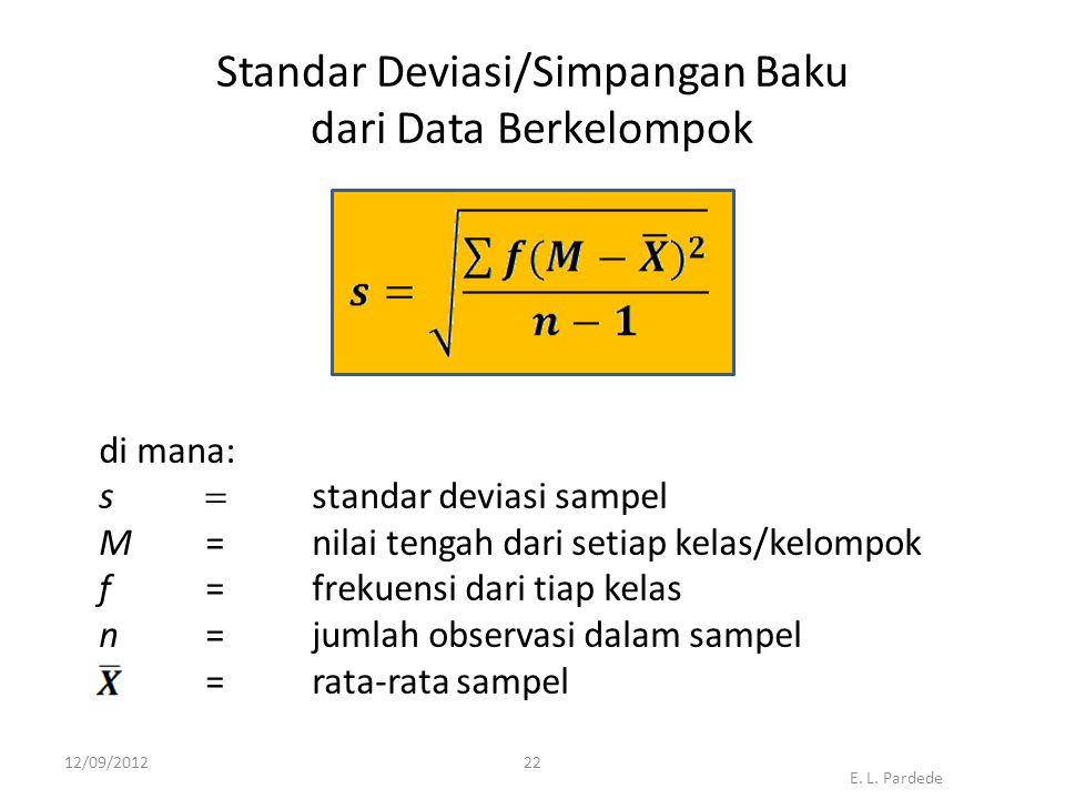Standar Deviasi/Simpangan Baku dari Data Berkelompok