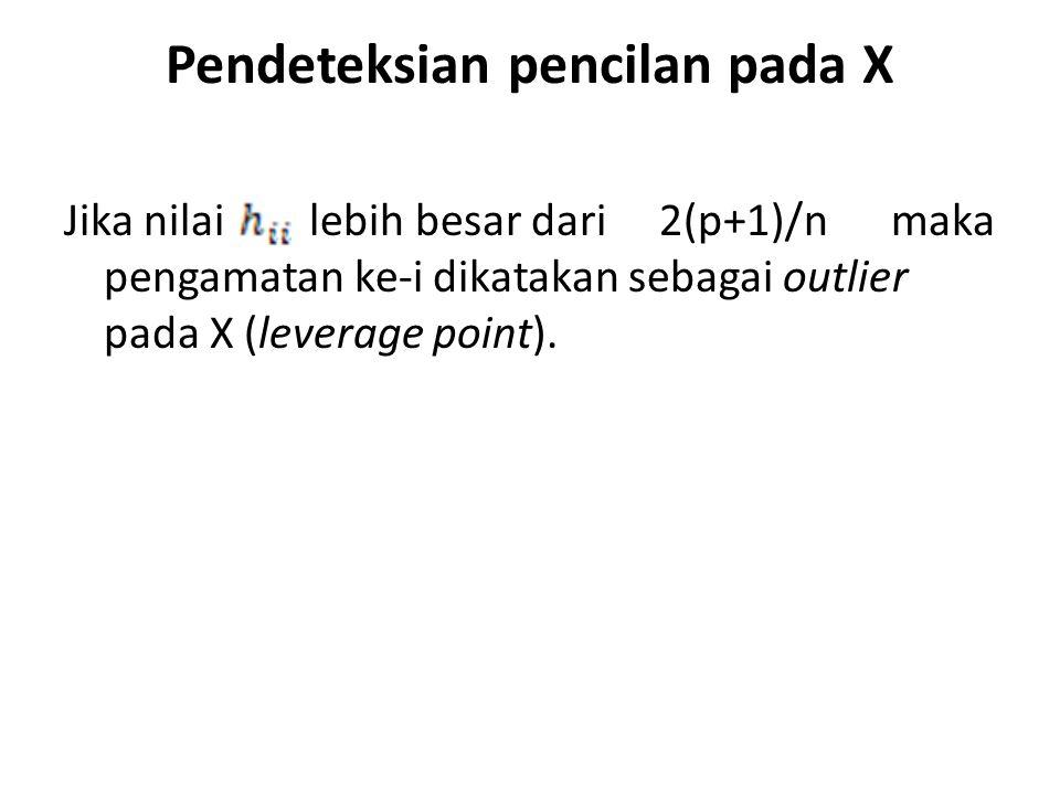 Pendeteksian pencilan pada X