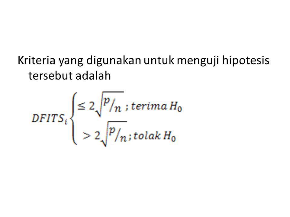Kriteria yang digunakan untuk menguji hipotesis tersebut adalah