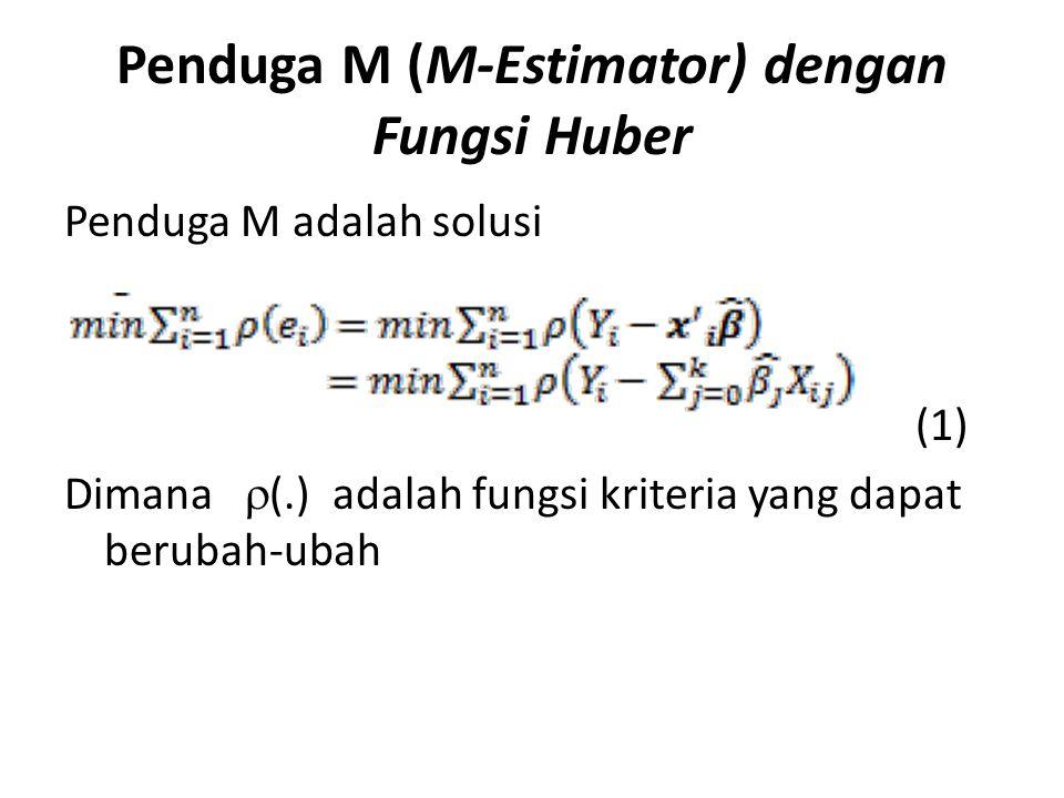 Penduga M (M-Estimator) dengan Fungsi Huber