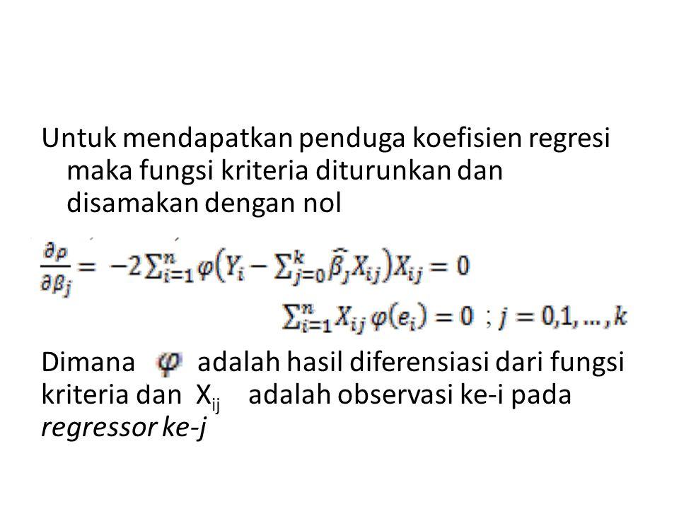 Untuk mendapatkan penduga koefisien regresi maka fungsi kriteria diturunkan dan disamakan dengan nol Dimana adalah hasil diferensiasi dari fungsi kriteria dan Xij adalah observasi ke-i pada regressor ke-j