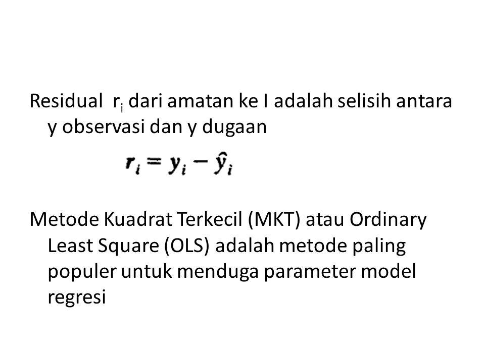 Residual ri dari amatan ke I adalah selisih antara y observasi dan y dugaan Metode Kuadrat Terkecil (MKT) atau Ordinary Least Square (OLS) adalah metode paling populer untuk menduga parameter model regresi