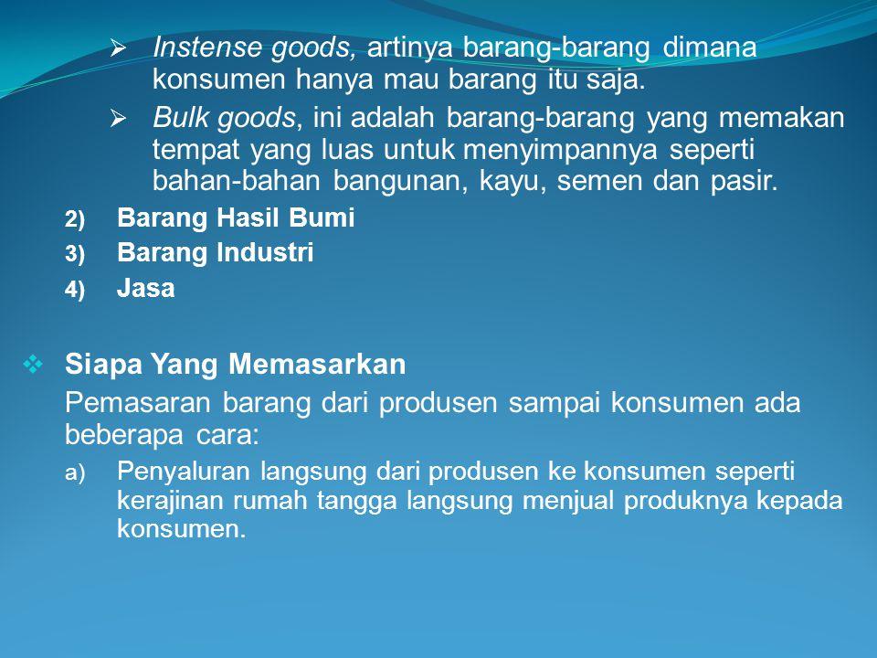 Pemasaran barang dari produsen sampai konsumen ada beberapa cara: