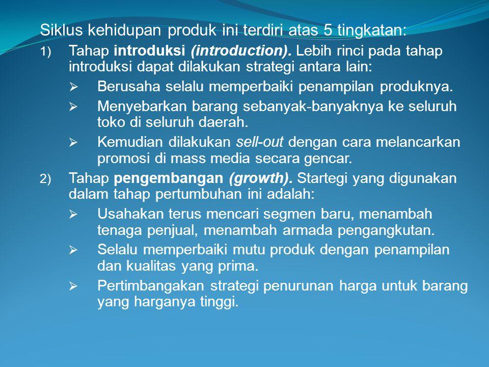 Siklus kehidupan produk ini terdiri atas 5 tingkatan: