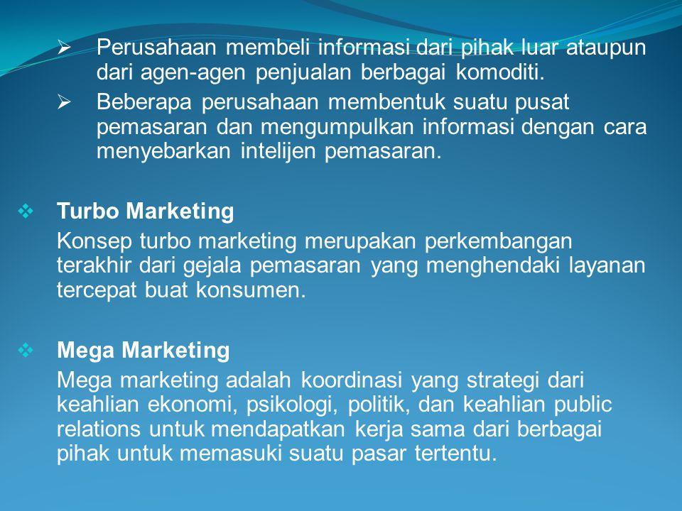 Perusahaan membeli informasi dari pihak luar ataupun dari agen-agen penjualan berbagai komoditi.