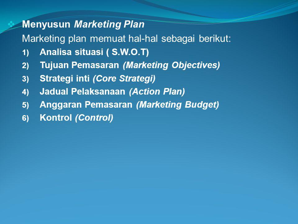 Menyusun Marketing Plan Marketing plan memuat hal-hal sebagai berikut: