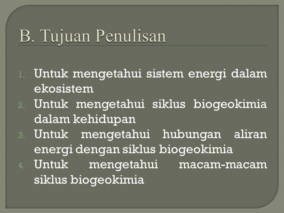 B. Tujuan Penulisan Untuk mengetahui sistem energi dalam ekosistem
