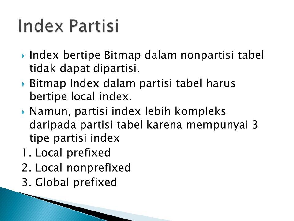 Index Partisi Index bertipe Bitmap dalam nonpartisi tabel tidak dapat dipartisi. Bitmap Index dalam partisi tabel harus bertipe local index.