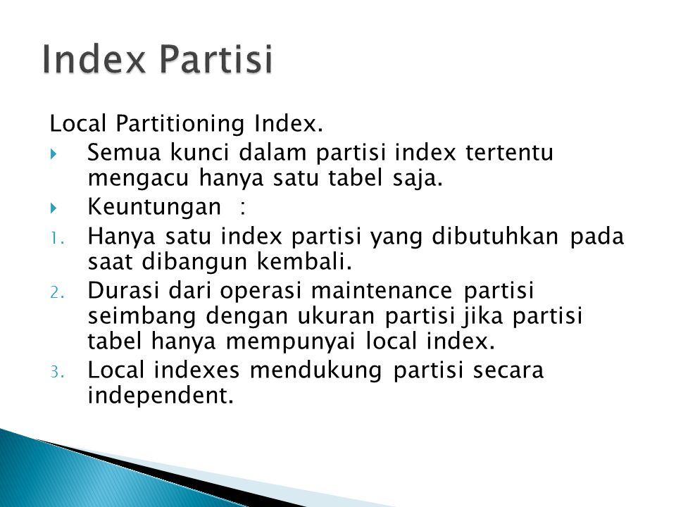 Index Partisi Local Partitioning Index.