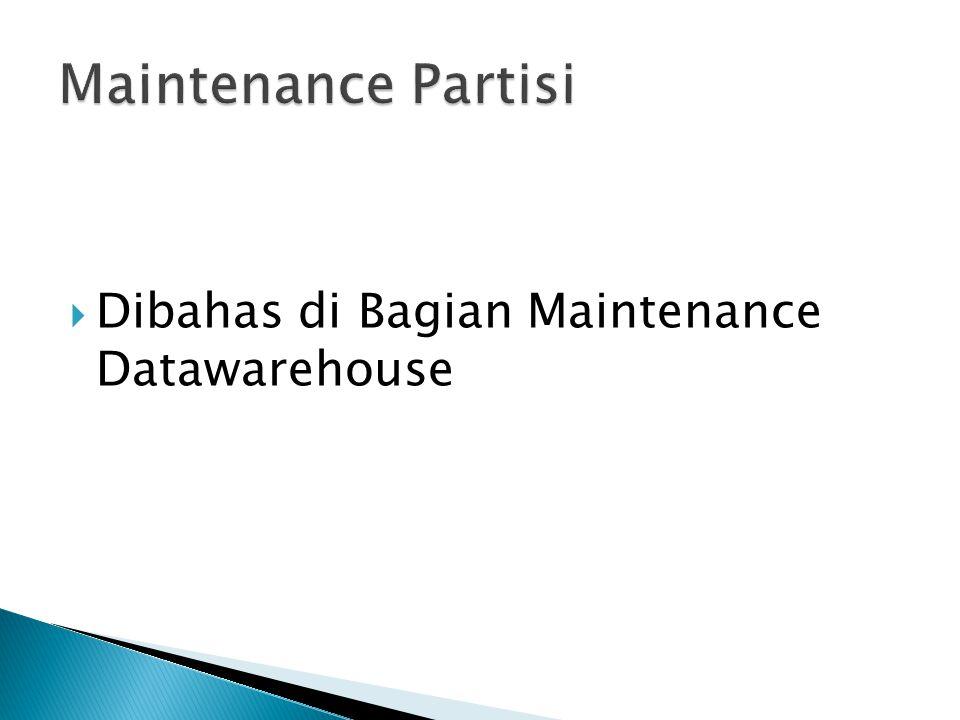 Maintenance Partisi Dibahas di Bagian Maintenance Datawarehouse