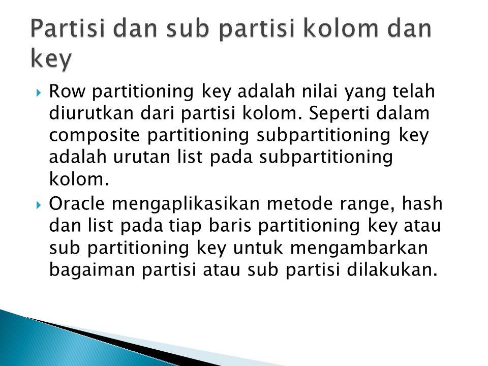 Partisi dan sub partisi kolom dan key