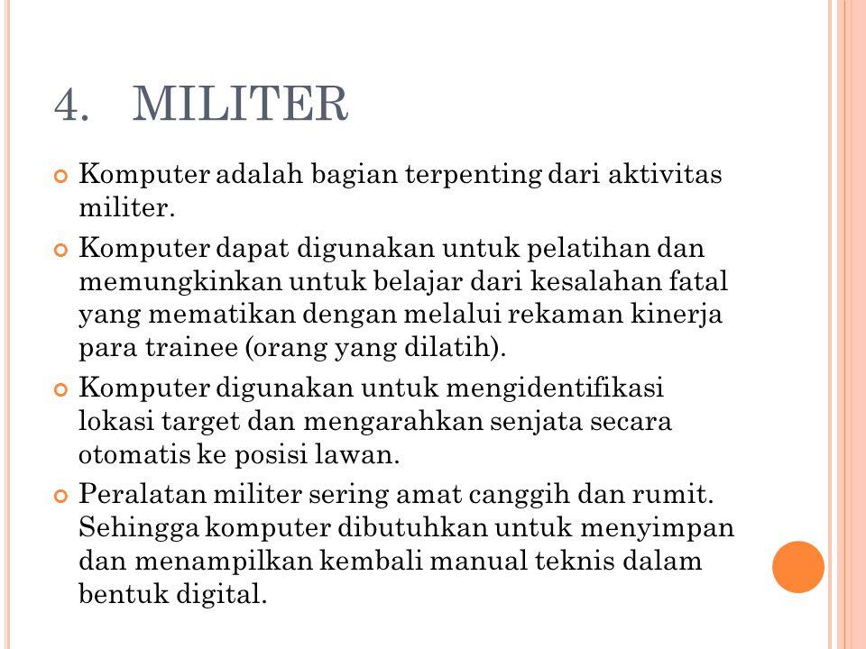 4. MILITER Komputer adalah bagian terpenting dari aktivitas militer.