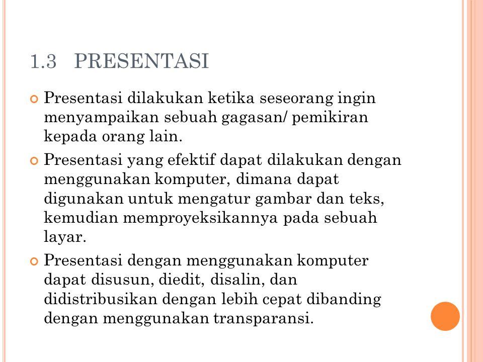 1.3 PRESENTASI Presentasi dilakukan ketika seseorang ingin menyampaikan sebuah gagasan/ pemikiran kepada orang lain.