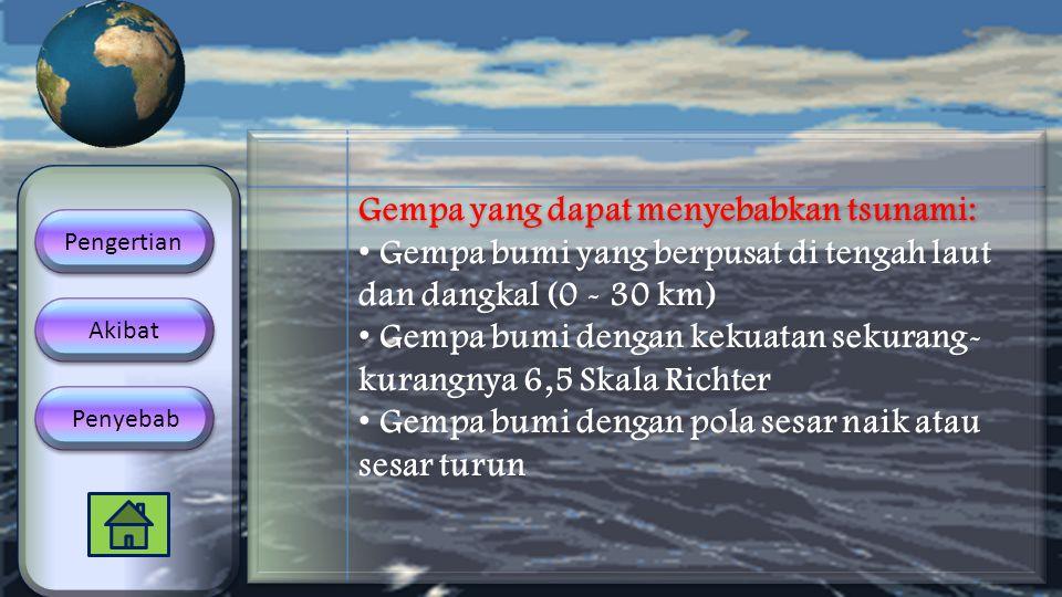 Gempa yang dapat menyebabkan tsunami: