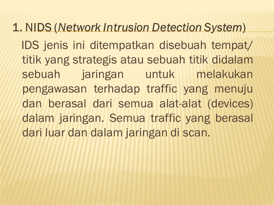 1. NIDS (Network Intrusion Detection System)
