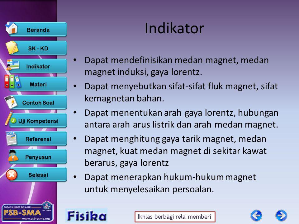 Indikator Dapat mendefinisikan medan magnet, medan magnet induksi, gaya lorentz. Dapat menyebutkan sifat-sifat fluk magnet, sifat kemagnetan bahan.