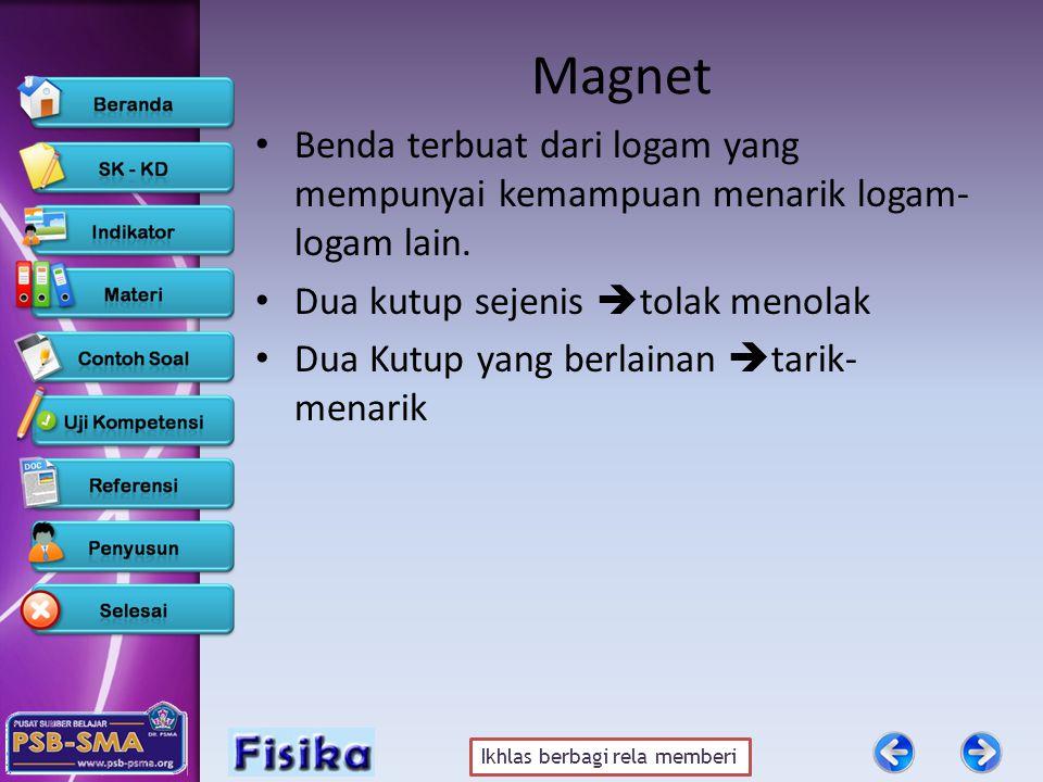 Magnet Benda terbuat dari logam yang mempunyai kemampuan menarik logam-logam lain. Dua kutup sejenis tolak menolak.