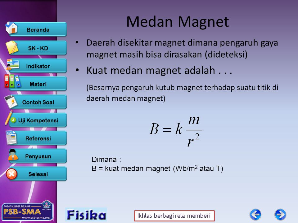Medan Magnet Kuat medan magnet adalah . . .