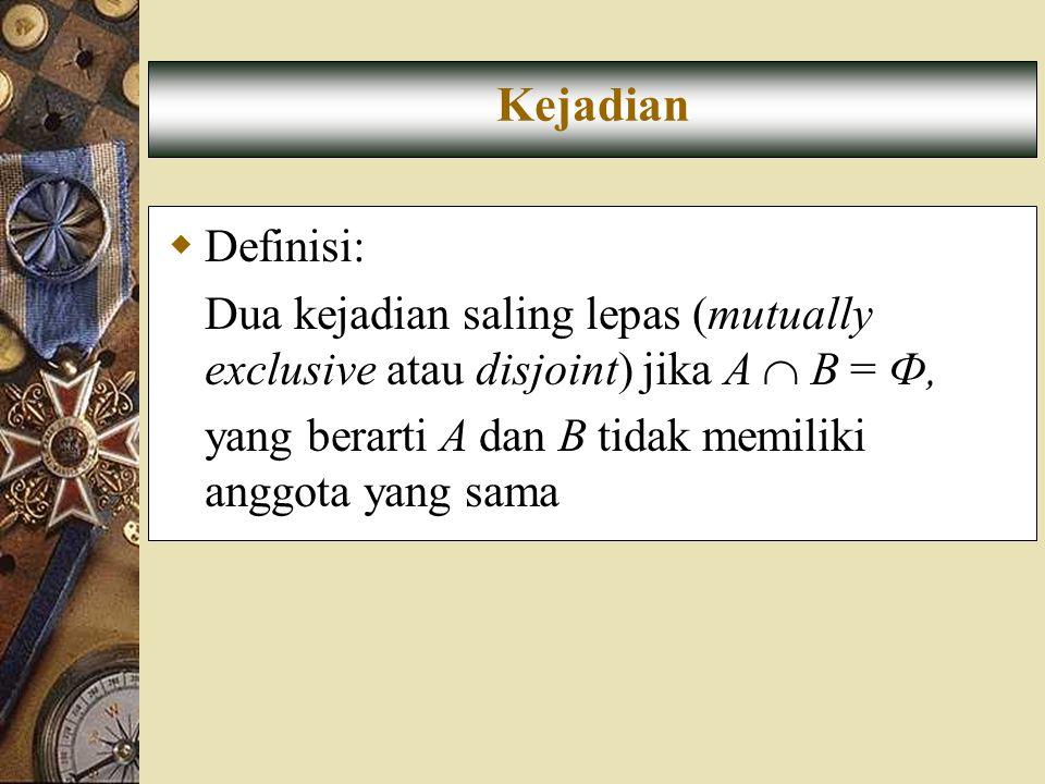 Kejadian Definisi: Dua kejadian saling lepas (mutually exclusive atau disjoint) jika A  B = Ф,