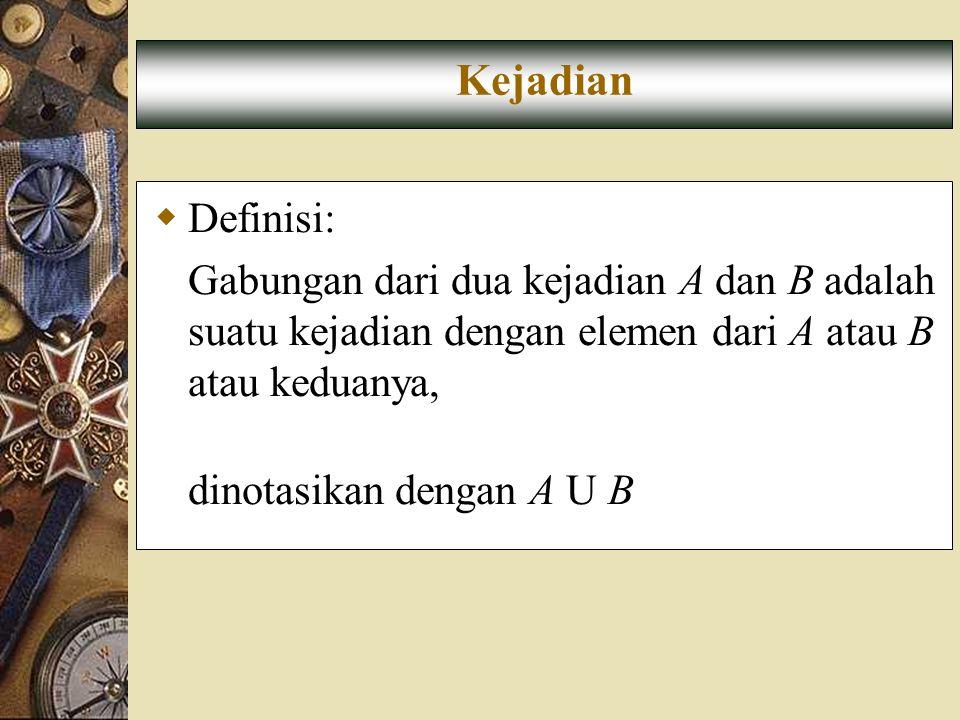 Kejadian Definisi: Gabungan dari dua kejadian A dan B adalah suatu kejadian dengan elemen dari A atau B atau keduanya,