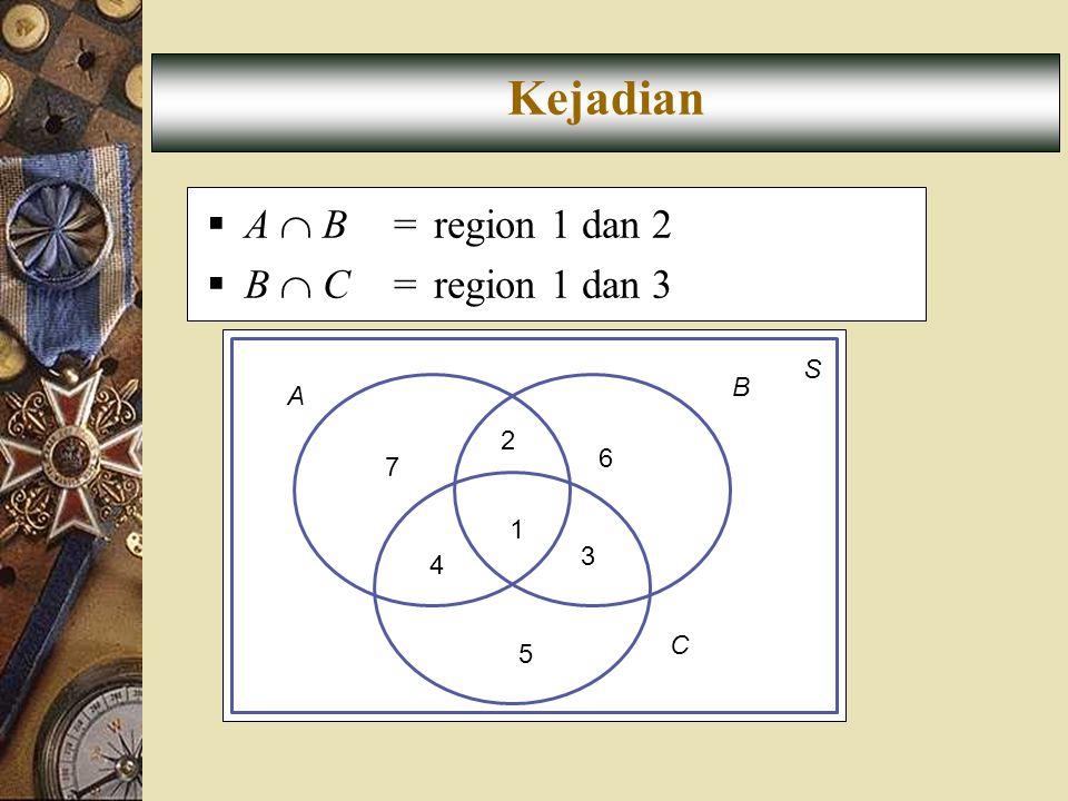 Kejadian A  B = region 1 dan 2 B  C = region 1 dan 3 S B A 2 6 7 1 3