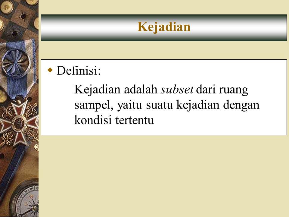 Kejadian Definisi: Kejadian adalah subset dari ruang sampel, yaitu suatu kejadian dengan kondisi tertentu.