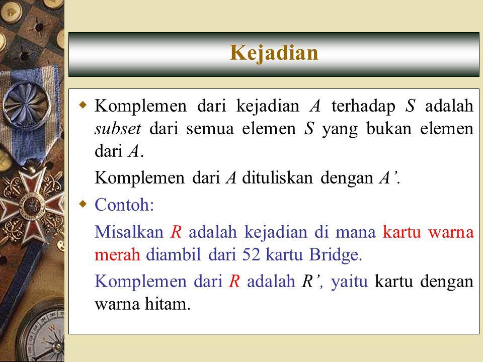 Kejadian Komplemen dari kejadian A terhadap S adalah subset dari semua elemen S yang bukan elemen dari A.