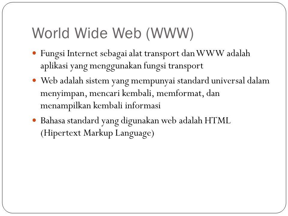 World Wide Web (WWW) Fungsi Internet sebagai alat transport dan WWW adalah aplikasi yang menggunakan fungsi transport.