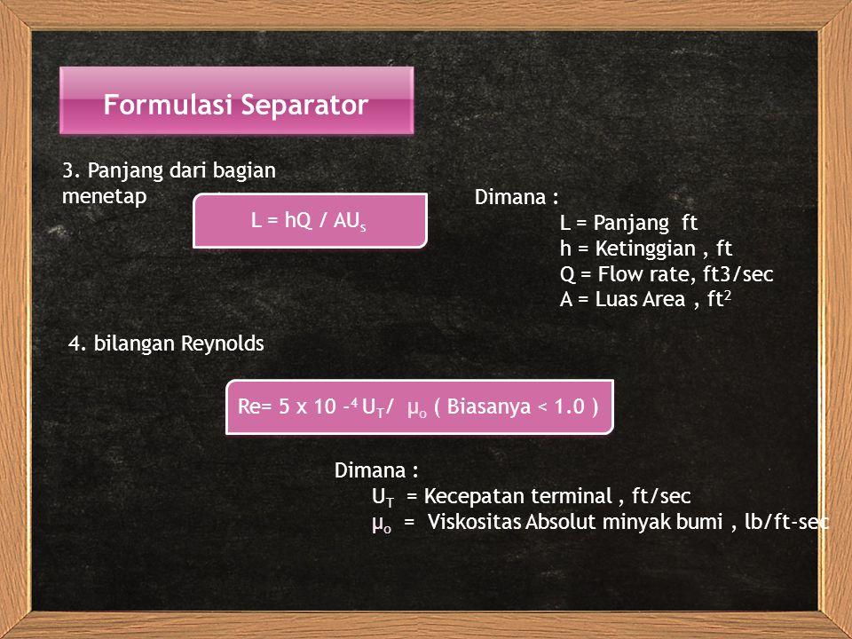 Formulasi Separator 3. Panjang dari bagian menetap Dimana :