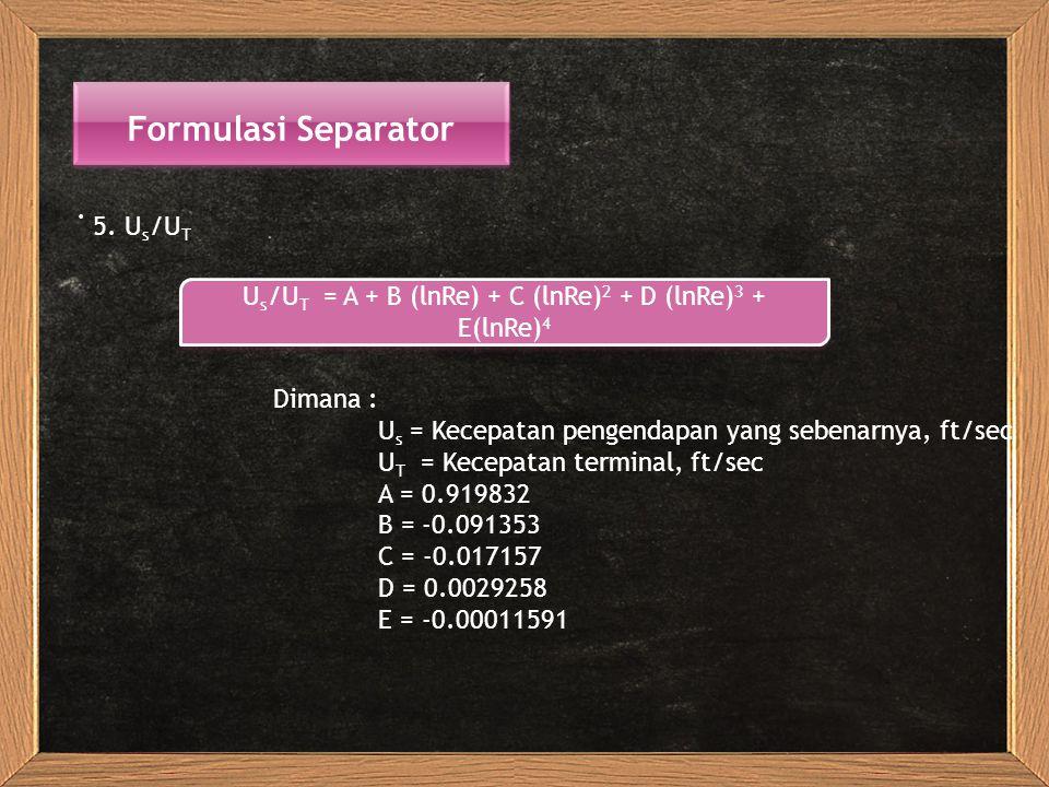 Us/UT = A + B (lnRe) + C (lnRe)2 + D (lnRe)3 + E(lnRe)4