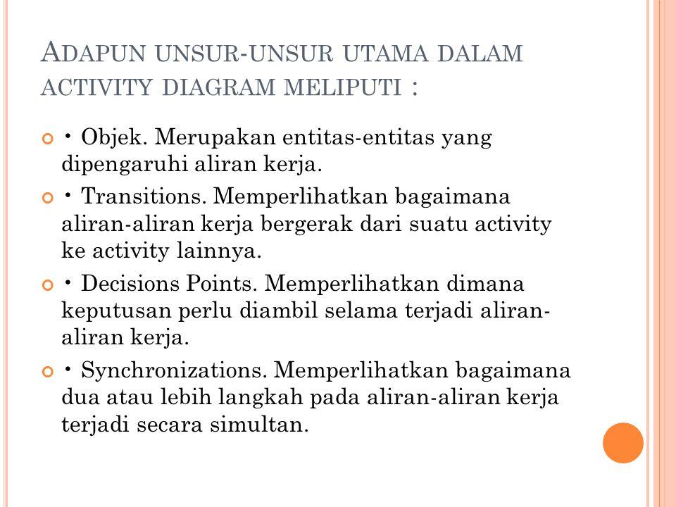 Adapun unsur-unsur utama dalam activity diagram meliputi :