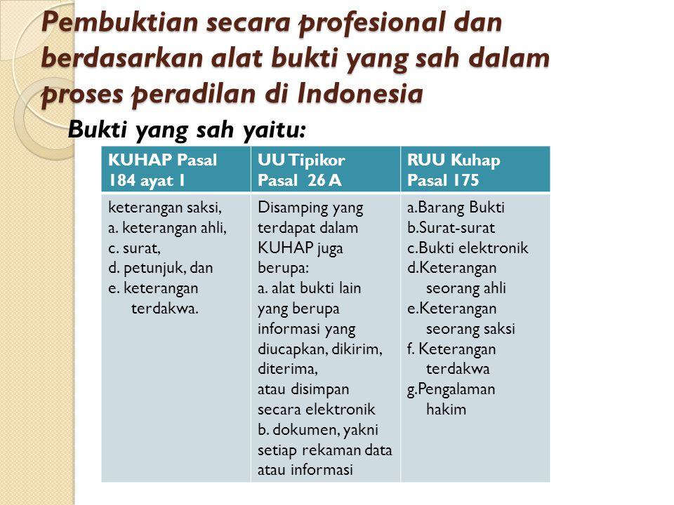 Pembuktian secara profesional dan berdasarkan alat bukti yang sah dalam proses peradilan di Indonesia