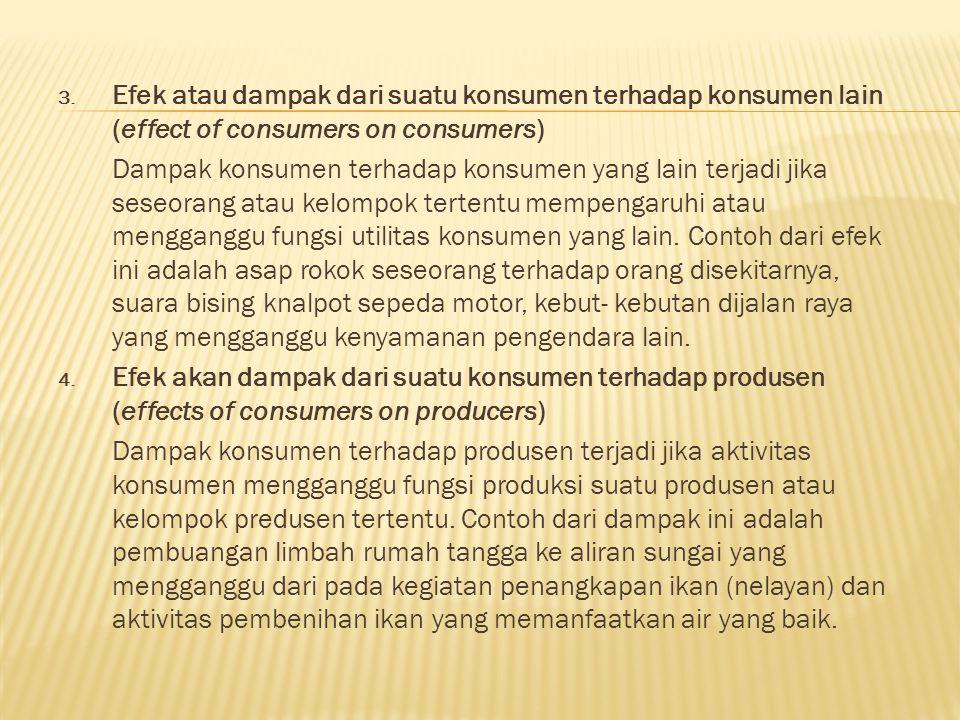 Efek atau dampak dari suatu konsumen terhadap konsumen lain (effect of consumers on consumers)
