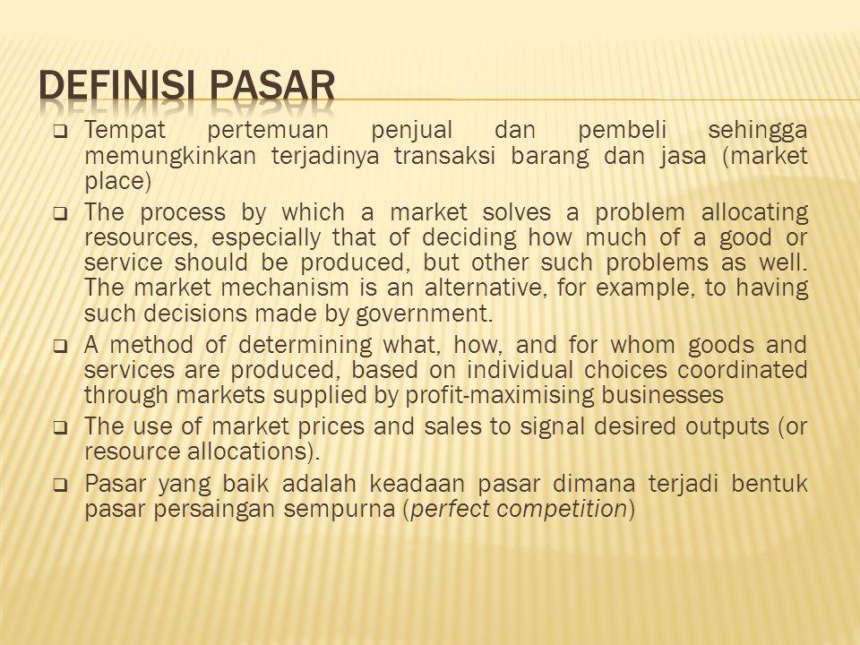 Definisi Pasar Tempat pertemuan penjual dan pembeli sehingga memungkinkan terjadinya transaksi barang dan jasa (market place)