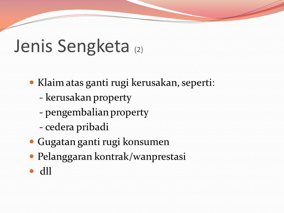Jenis Sengketa (2) Klaim atas ganti rugi kerusakan, seperti: