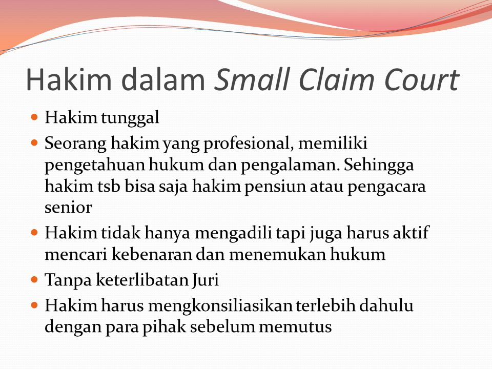 Hakim dalam Small Claim Court