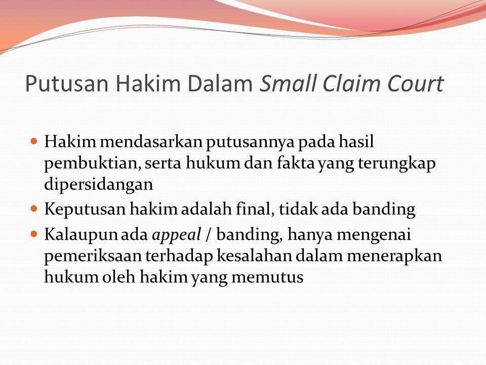 Putusan Hakim Dalam Small Claim Court