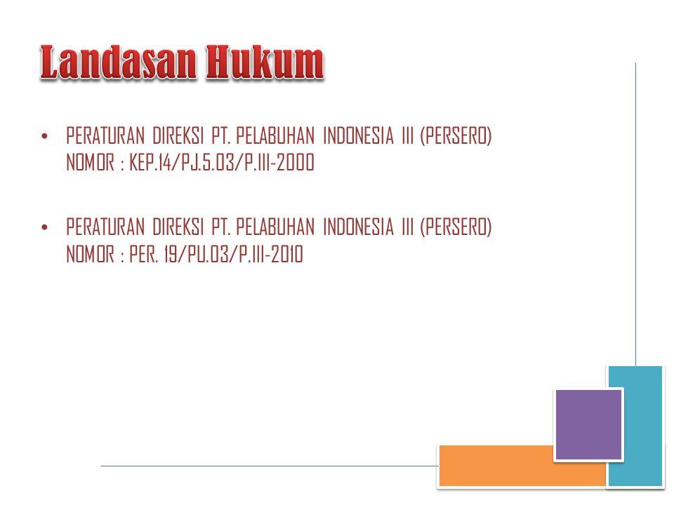 Landasan Hukum PERATURAN DIREKSI PT. PELABUHAN INDONESIA III (PERSERO) NOMOR : KEP.14/PJ.5.03/P.III-2000.