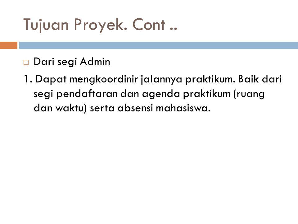 Tujuan Proyek. Cont .. Dari segi Admin