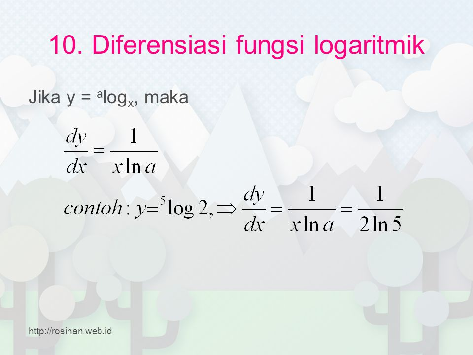 10. Diferensiasi fungsi logaritmik