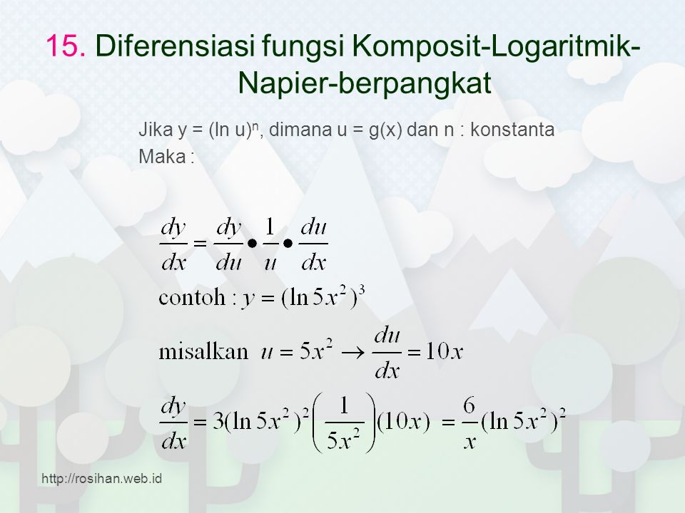 15. Diferensiasi fungsi Komposit-Logaritmik-Napier-berpangkat