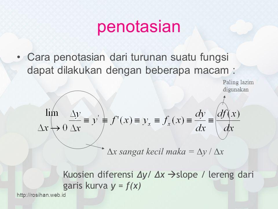 penotasian Cara penotasian dari turunan suatu fungsi dapat dilakukan dengan beberapa macam : Paling lazim digunakan.