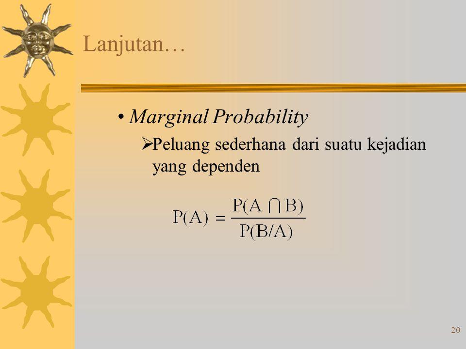 Lanjutan… Marginal Probability