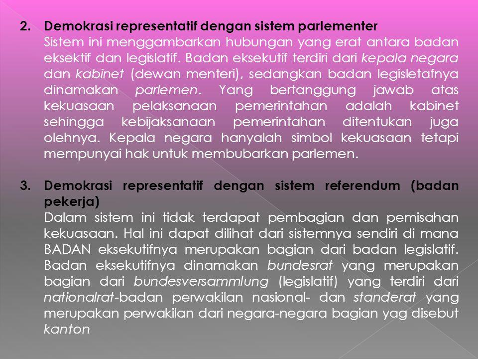 Demokrasi representatif dengan sistem parlementer