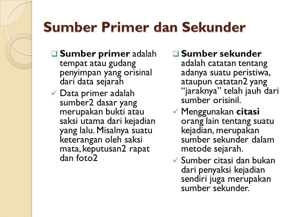Sumber Primer dan Sekunder