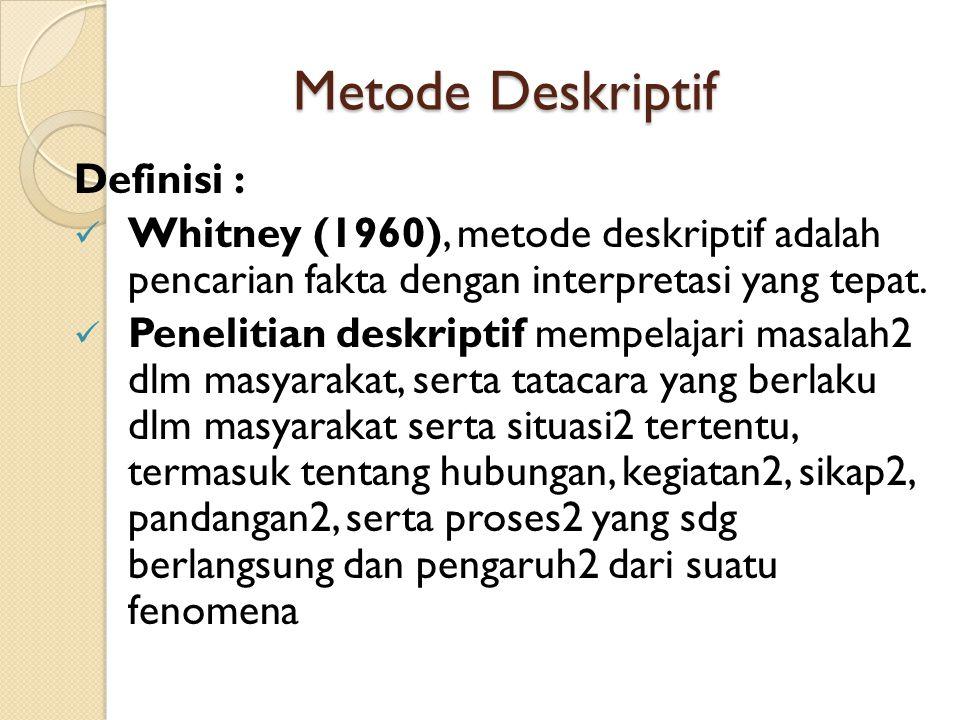 Metode Deskriptif Definisi :