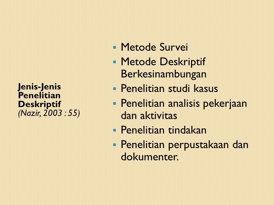 Metode Deskriptif Berkesinambungan Penelitian studi kasus