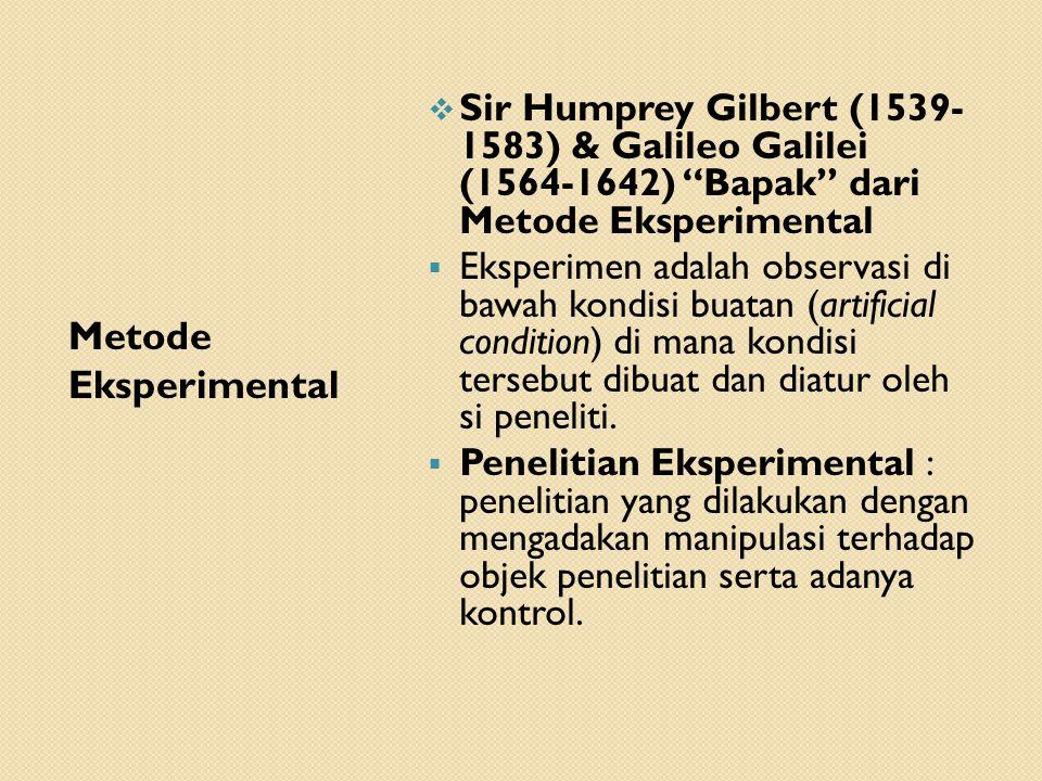 Sir Humprey Gilbert (1539- 1583) & Galileo Galilei (1564-1642) Bapak dari Metode Eksperimental